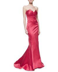 Zac Posen Silk Strapless Fishtail Gown - Lyst