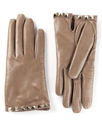 Valentino Beige Rockstud Gloves - Lyst