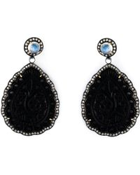 Gemco - Agate And Diamond Tear Drop Earrings - Lyst