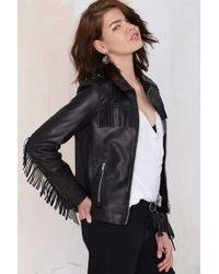Nasty Gal Maison Scotch Ambush Leather Fringe Jacket - Lyst