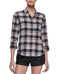 Lily Aldridge For Velvet - Plaid Buttondown Shirt - Lyst