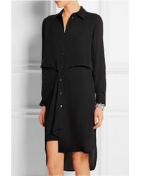 McQ by Alexander McQueen Draped Silk-Georgette Shirt Dress - Lyst