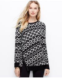 Ann Taylor Graphic Zip Sweater - Lyst