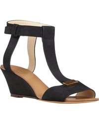 Chloé T-Strap Wedge Sandals - Lyst