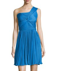 Halston Heritage One-shoulder Pleated Center Twist Dress - Lyst
