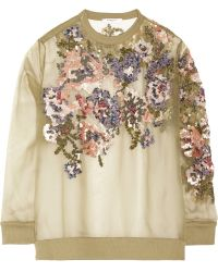 Givenchy Sheer Silkorganza Sweatshirt with Sequin Roses - Lyst