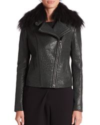 Yigal Azrouël Fur-Collar Leather Jacket green - Lyst