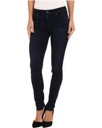 7 For All Mankind Slim Illusion Luxe Midrise Skinny W Contour Waistband in Rich Blue - Lyst