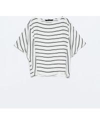 Zara Striped Kimono Sleeve Top - Lyst