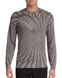 Giorgio Armani Gray Geometricprint Sweater - Lyst