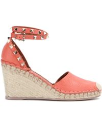 Valentino Rockstud Double Leather Wedge Sandals - Lyst