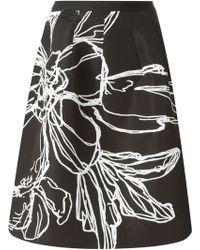 Oscar de la Renta Flower Print Skirt - Lyst