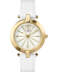 Timex® Women'S Starlight White Leather Strap Watch 33Mm T2P542Ab - Lyst