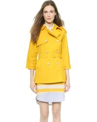 Band of Outsiders - Belted A Line Trench Coat - Yellow - Lyst