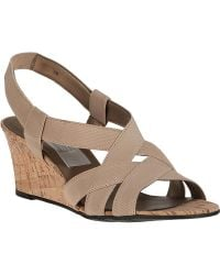 Vaneli For Jildor Lakia Wedge Sandal Beige Fabric - Lyst