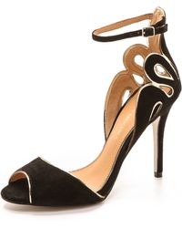 Badgley Mischka Franki Open Toe Suede Sandals - Lyst