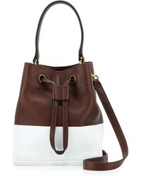 Tory Burch Mini Colorblock Leather Bucket Bag - Lyst
