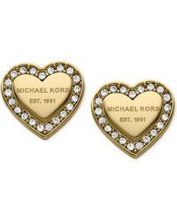 Michael Kors Crystal Heart Stud Earrings - Lyst