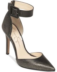 Jessica Simpson Cayna Metallic Ankle Strap Pumps - Lyst