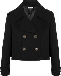 Miu Miu Cropped Wool-crepe Jacket - Lyst