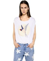 Stella McCartney Swallow Embroidered Patch Cotton T-shirt - Lyst