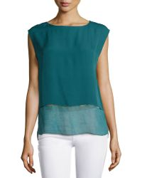 Elie Tahari Asher Contrast-Trim Sleeveless Blouse - Lyst