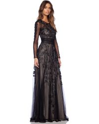 78ce213d795 Marchesa Voyage - Embroidered Long Sleeve Gown - Black - Lyst