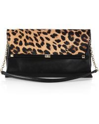 Diane von Furstenberg Leather Leopardprint Calf Hair Large Envelope Clutch - Lyst