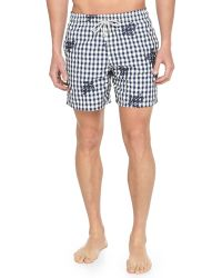 Vilebrequin Mistral Check Turtle-print Swim Trunks - Lyst