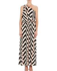 Lanvin Mix-Stripe Jersey One-Shoulder Gown - Lyst