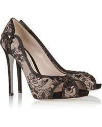 Rene Caovilla Crystal-Embellished Lace And Leather Pumps - Lyst