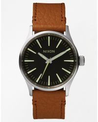 Nixon Sentry 38 Leather Strap Watch - Lyst