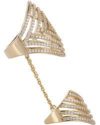 Fallon Gold Vermeil Pave Labyrinth Double Ring - Lyst