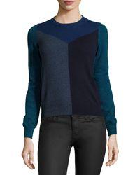 Stella McCartney Colorblock Crewneck Cashmere Sweater - Lyst