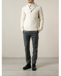 Michael Bastian Cable Knit Buttoned Funnel Neck Sweater - Lyst