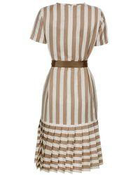 Paul Smith Taupe Stripe Linen-Blend Drop-Skirt Dress - Lyst