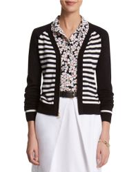 Anne Klein Stripe Zip Up Cardigan - Lyst