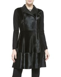 Elie Tahari Aliza Structured Calf Hair Coat - Lyst