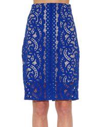 Lover Poppy Macramé Lace Pencil Skirt - Lyst