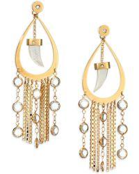 House of Lavande | Nihiwatu Mother-of-pearl & Crystal Double-sided Fringe Teardrop Earrings | Lyst