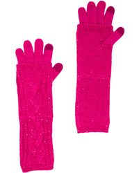 Juicy Couture - Sparkle Cable Layered Texting Gloves in Pink - Lyst
