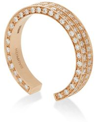 Maison Dauphin - Minimal Pink Gold And Diamond Two Row Ring - Lyst