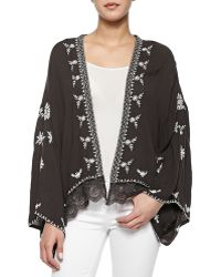 Free People Long-Sleeve Embroidered Lace-Trimmed Cape - Lyst
