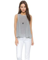 House Of Harlow 1960 Sunset Seamed Muscle Tank - Stripe - Lyst