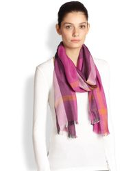 Burberry Silk  Cashmere Scarfivory - Lyst