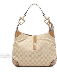 Gucci Preowned Tan Monogram Canvas Jackie O Bag - Lyst