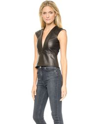 Mason by Michelle Mason Leather Plunge Neck Top  Black - Lyst