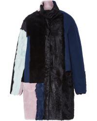 Jo No Fui - Colorblocked Wool Shearling And Kid Lamb Fur Overcoat - Lyst