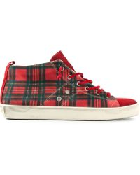 Leather Crown Tartan Midtop Sneakers - Lyst