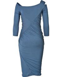 Donna Karan New York Draped Dress with Cutout Shoulder - Lyst